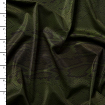 Black on Hunter Green Snakeskin Print Nylon/Spandex