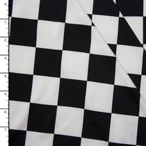 Black and White Checkerboard Stretch Poly Knit