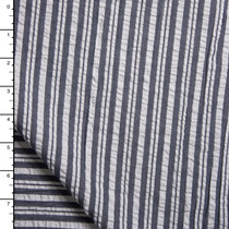 Indigo Striped Cotton Seersucker by Robert Kaufman
