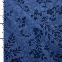 Navy on Denim Blue Vines and Flowers Brushed Twill Print