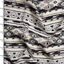 Grey, Black, and Ivory Soutwestern Stripe Rayon Challis