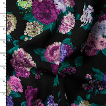 Teal and Purple Floral on Black Rayon Challis Print
