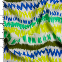 Neon Yellow, Green, and Blue Ikat Stripe Rayon Challis