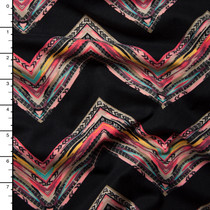 Pink Lined Chevron Midweight Double Brushed Poly Spandex Knit Print