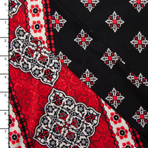 Red Ornate Border Double Brushed Poly Spandex Knit Print