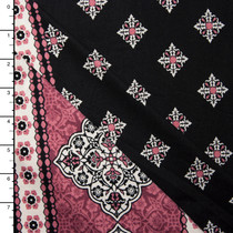 Dusty Rose Ornate Border Double Brushed Poly Spandex Knit Print