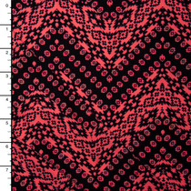 Hot Pink and Black Tribal Chevron Double Brushed Poly Spandex Knit Print