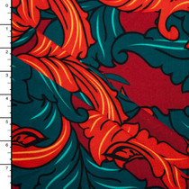 Wine, Orange, and Teal Scrollwork Leaves Double Brushed Poly Spandex Knit Print