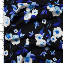 Blue and White on Black Floral Print Double Brushed Poly Spandex Knit Print