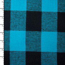 Turquoise and Black Buffalo Plaid Flannel