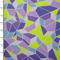 Lime and Lilac Abstract Geometric Print Spandex