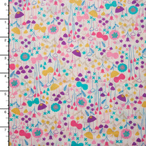 Pink Aqua, and Yellow Fun Floral 'London Calling' Cotton Lawn