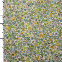 Lime and Yellow Sketchbook Style Small Floral 'London Calling' Cotton Lawn