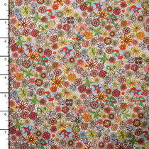 Rust and Yellow Sketchbook Style Small Floral 'London Calling' Cotton Lawn