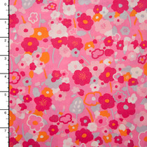 Pink and Orange Flower Power 'London Calling' Cotton Lawn