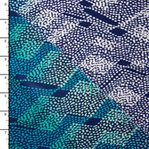 White and Turquoise Waves Border Print Poly Knit