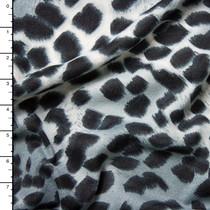 Black on Grey Cheetah Print Brushed Sweater Knit