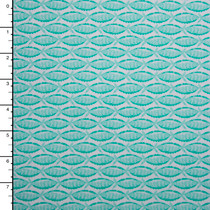 Baby Mint Fish Print on White Nylon/Lycra