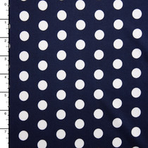 White on Navy Blue Polka Dot Double Brushed Poly