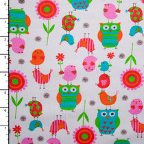 Colorful Birds and Flowers on White Cotton/Lycra Jersey