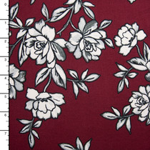 Black and White Sketchbook Floral on Wine Double Brushed Poly