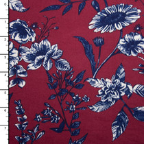 Navy and White Hand Drawn Wildflowers on Wine Double Brushed Poly