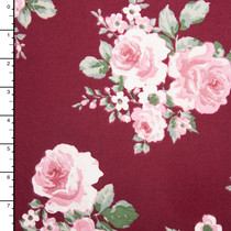 Pink and Sage Green Rose Floral on Wine Double Brushed Poly