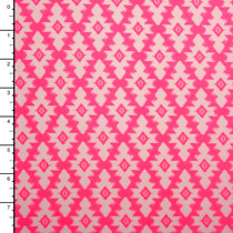 Neon Pink and White Southwestern Print Double Brushed Poly