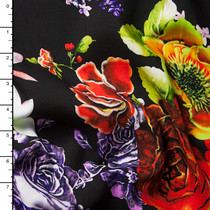 Roses and Abstract Swirls on Black Rayon Challis Print