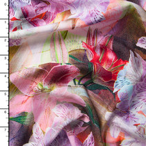 Pink and Lavender Lilies Abstract Rayon Challis Print
