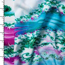 Teal, Aqua, and Purple Swirls Abstract Rayon Challis Print