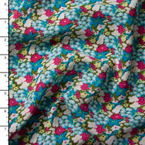 Pink, Turquoise, White, and Olive Floral Rayon Challis Print