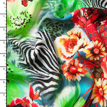 Roses and Zebra Stripes Abstract Rayon Challis Print