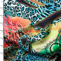 Vibrant Leopard and Shapes Abstract Rayon Challis Print