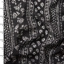Black and White Floral Stripe Rayon Gauze