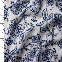 Navy Blue Flowers on White Rayon Challis Print
