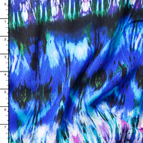 Blue and Purple Watercolor Ikat Rayon Gauze