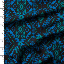 Blue and Green on Black Southwestern Rayon Gauze
