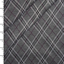 Grey and Plum Diagonal Plaid Soft Double Knit