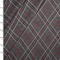 Grey and Burgundy Diagonal Plaid Soft Double Knit