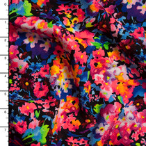 Neon Mixed Floral on Black Liverpool Print