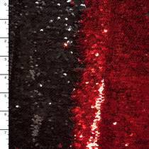 Metallic Red and Gloss Black Reversible Two Tone Sequin Fabric
