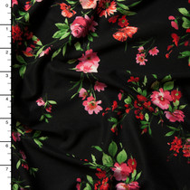 Red, Pink, and Green Brushstroke Floral on Black Double Brushed Poly Spandex Knit