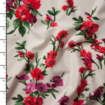 Red, Pink, and Green Brushstroke Floral on Ivory Double Brushed Poly Spandex Knit
