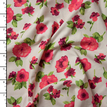 Red and Green Roses on Offwhite Double Brushed Poly Spandex Knit