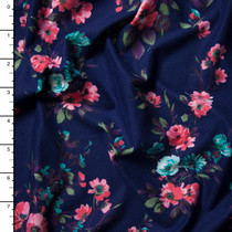 Pink, Light Blue, Green, and Plum Brushstroke Floral on Navy Double Brushed Poly Spandex Knit