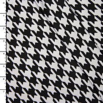 Black and White Houndstooth 4-Way Stretch Poly/Lycra Fabric