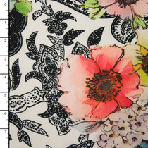 Watercolor Flowers on Stamped Scrollwork 4-Way Stretch Poly/Lycra