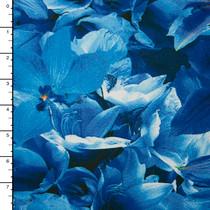 Blue Floral 4-Way Stretch Poly/Lycra