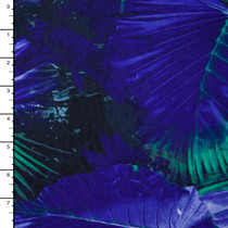 Jade and Royal Tropical Leaves 4-Way Stretch Poly/Lycra